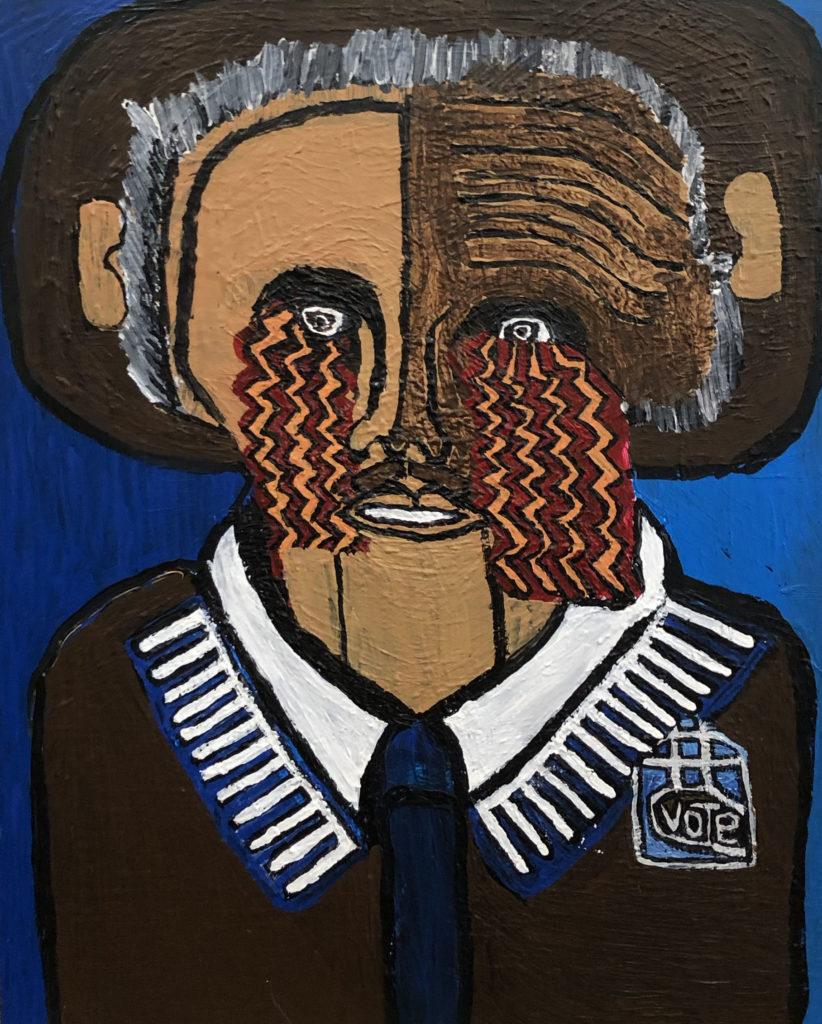 Barak Obama - acrylic on wood panel - 25 x 32