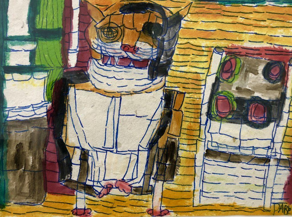 Untitled (Cat) - Acrylic & Marker on Handmade Paper - 12 x 16