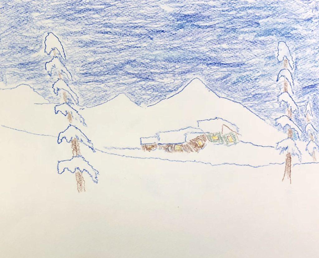 Winter Cabin - Colored Pencil on Paper - 9 x 12