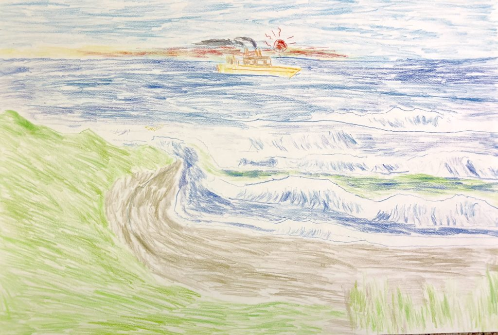 Fishing Boat - colored pencil on paper - 15 x 22