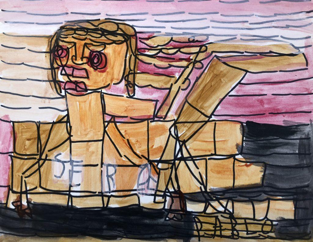 Untitled (Sera) - acrylic and marker on paper - 8 x 10