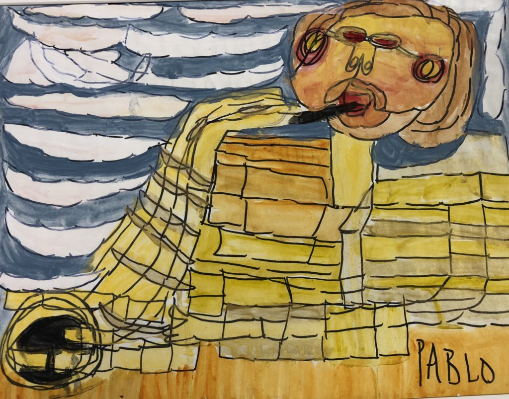 Untitled (Jazz Musician) - acrylic and marker on paper - 9 x 12
