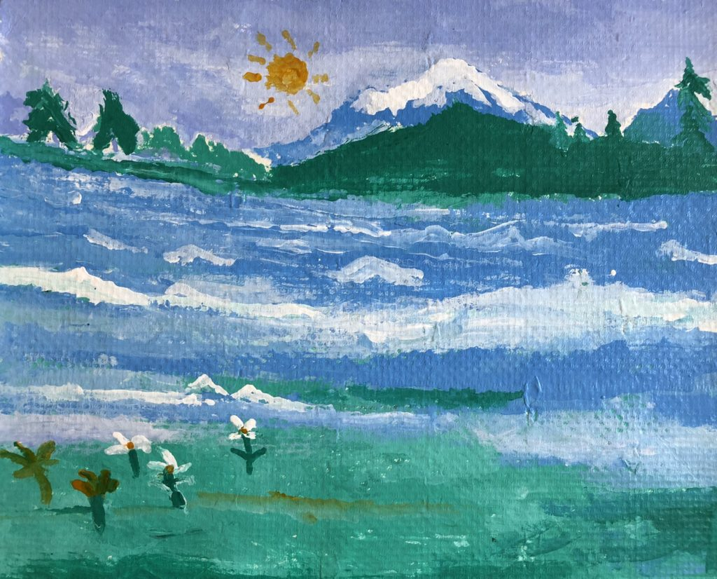 Mt Shasta - acrylic on pulp paper - 18 x 22