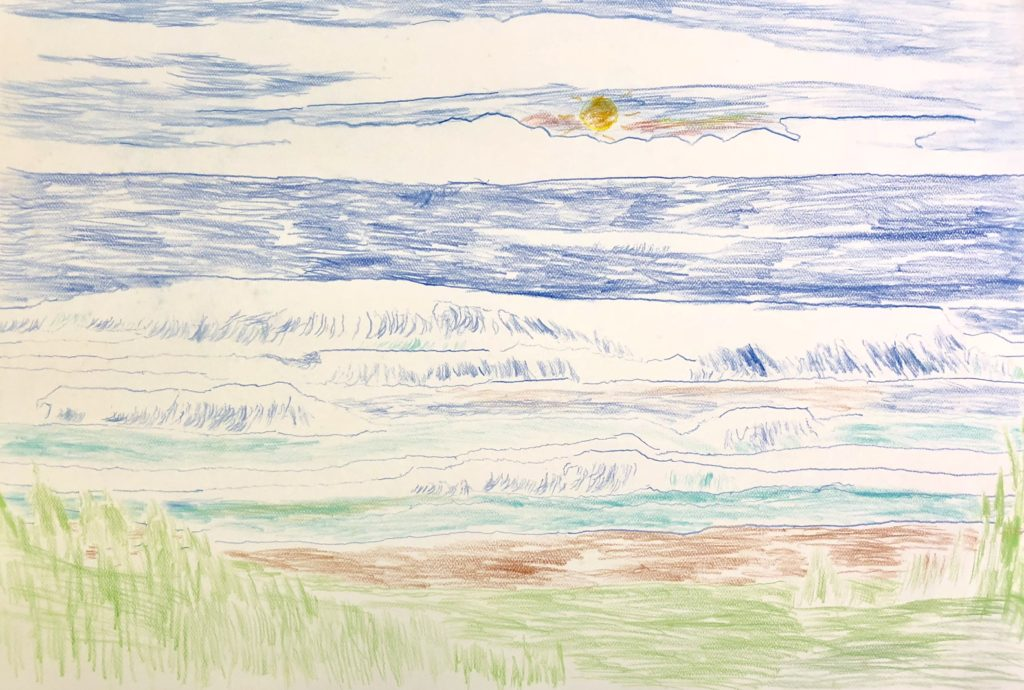 Pacific Ocean - colored pencil on paper - 15 x 22